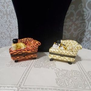 2 Beautiful Sleeping Cat Trinket Boxes